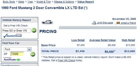 1990 7-up Convertible NADA pricing