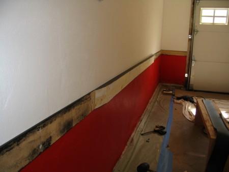 Garage door rail in progress